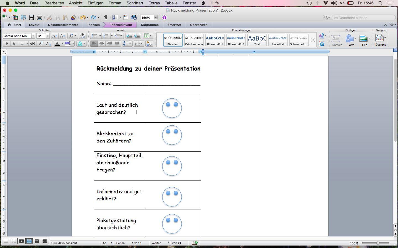 Bewertungsraster für Präsentationen in Kl. 1 und 2